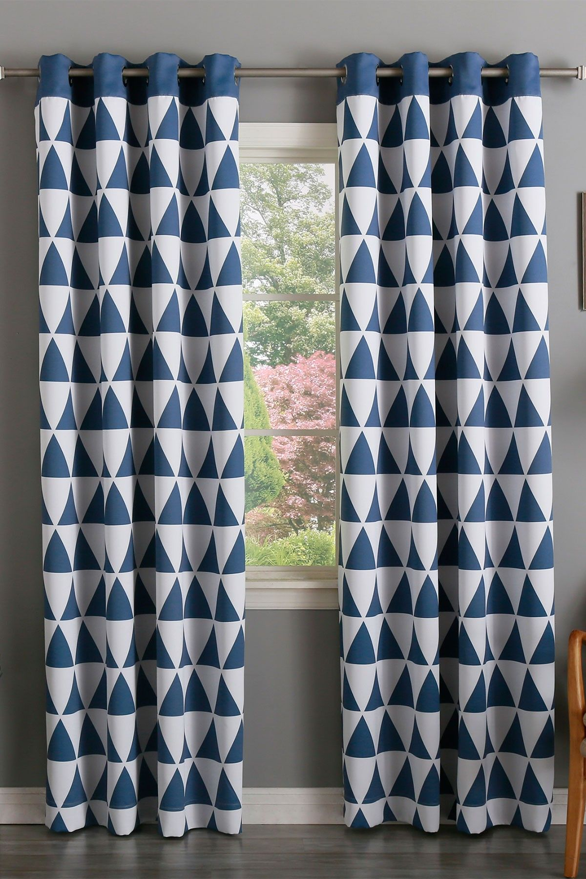 Geometric Patterned Curtains Geometric Triangle Printed Room Darkening Grommet Curtains Set