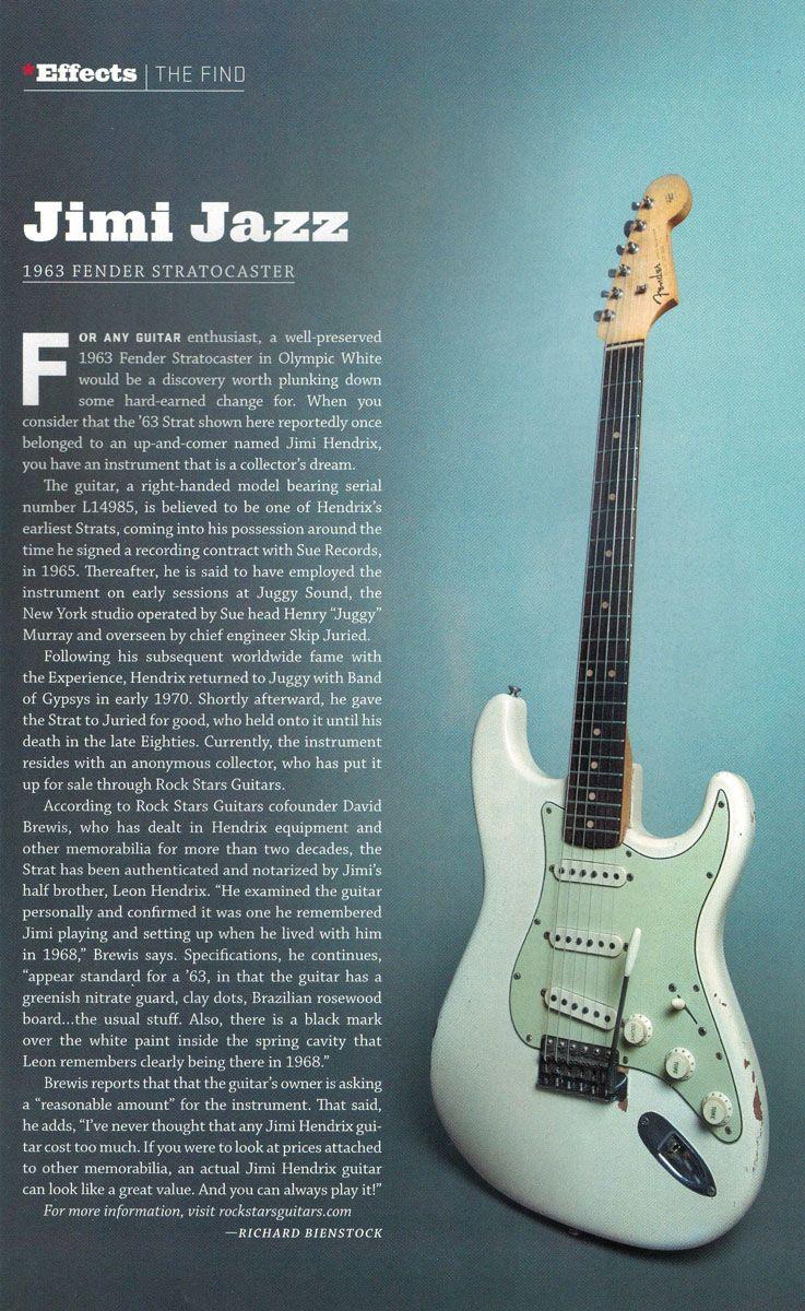 Sold Price Jimi Hendrix S 1963 Fender Stratocaster December 6 0117 1 00 Pm Est Fender Stratocaster Jimi Hendrix Hendrix