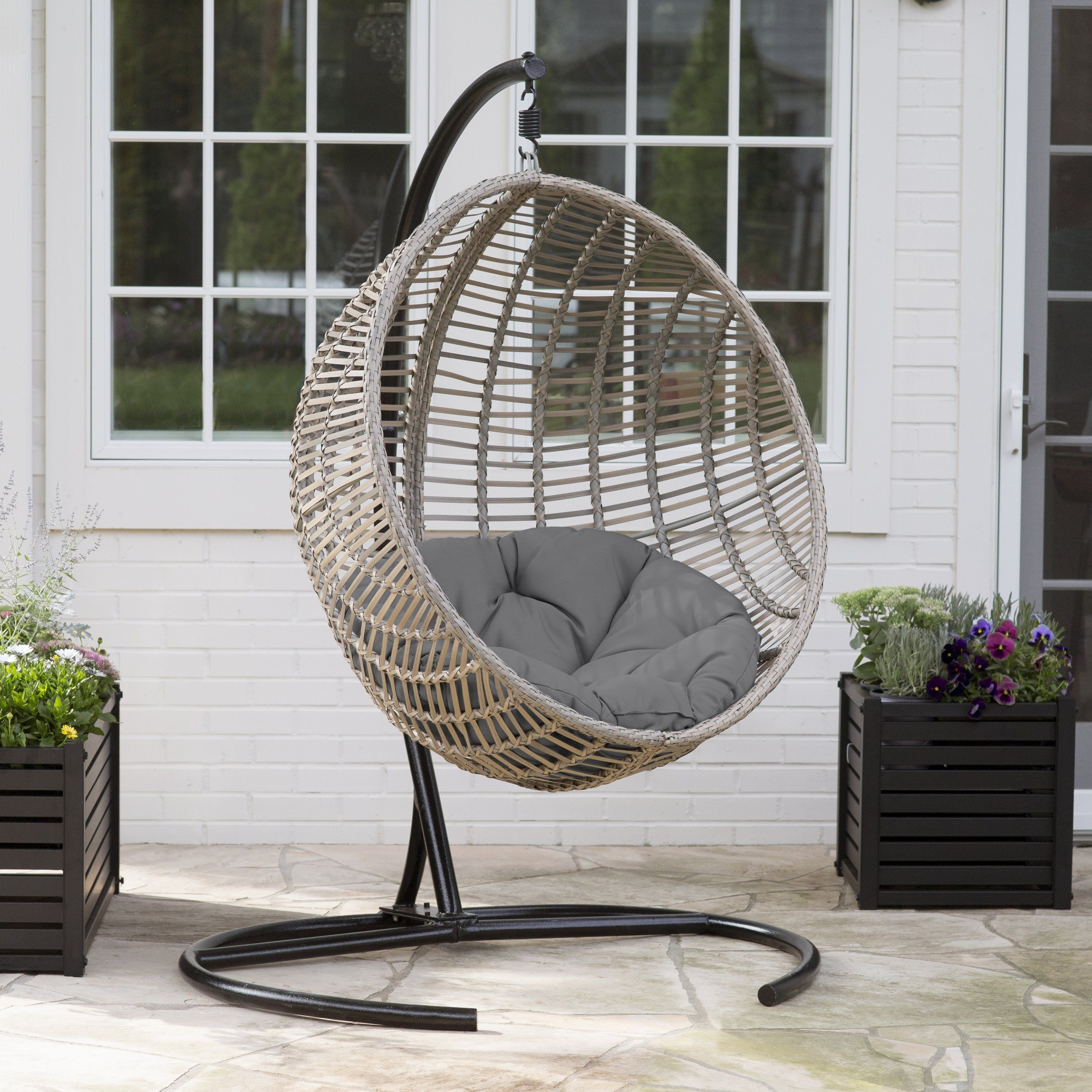 Good Island Bay Resin Wicker Kambree Rib Hanging Egg Chair With Cushion And  Stand | From Hayneedle