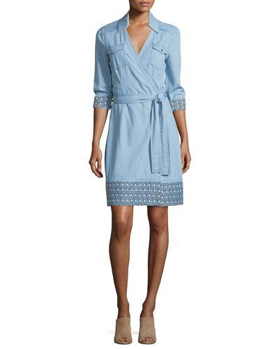 TC6Y6 Diane von Furstenberg Savion Collared Chambray Wrap Dress ...