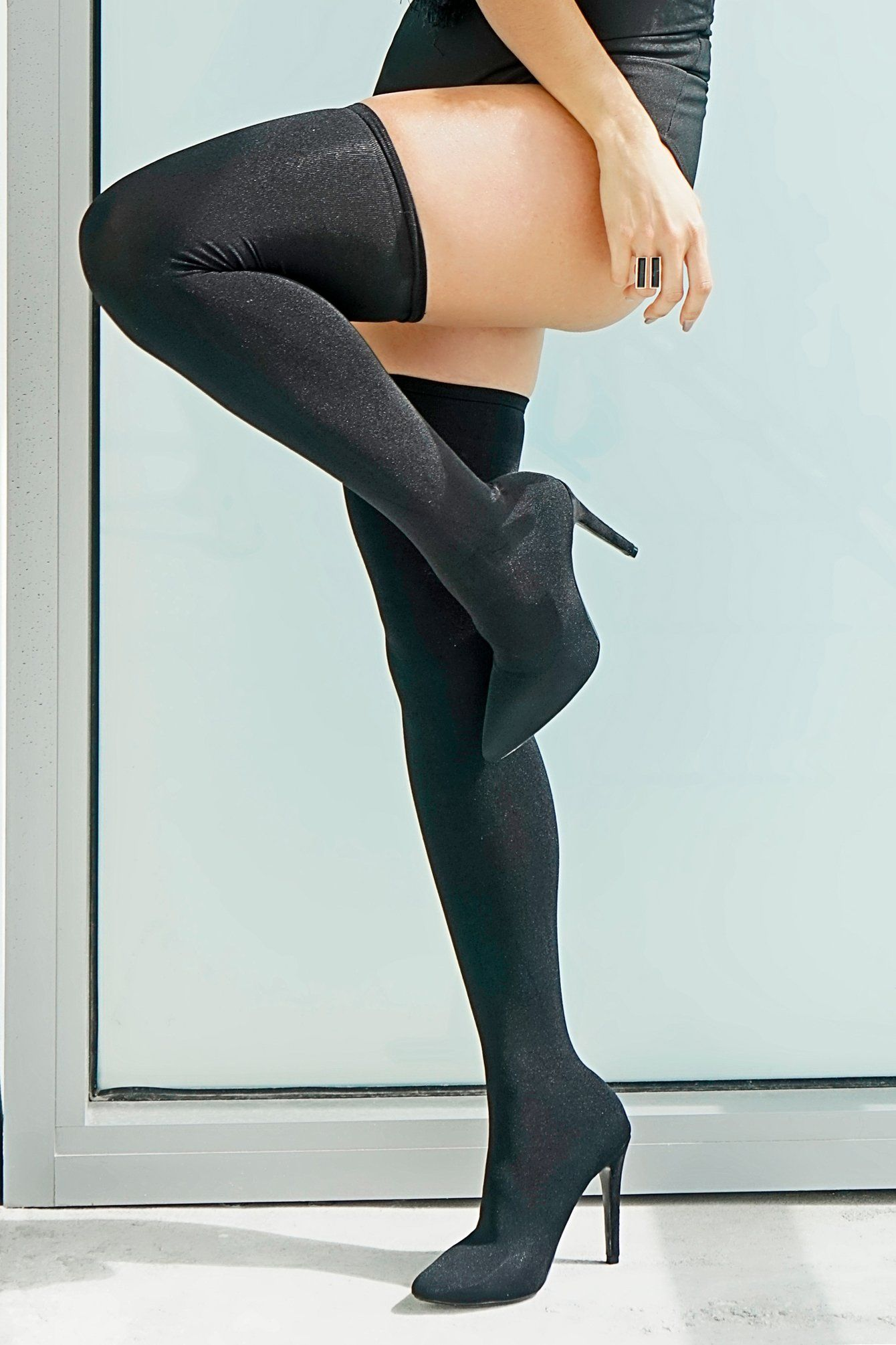 8bcff9d45f7 EDITOR S NOTES   DETAILS - Black stocking stretchy boots - Pointy toe - Thigh  high - 4.5 inch heel - Runs true to size
