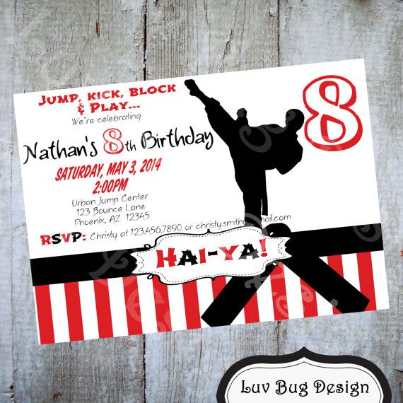 PRINTABLE Karate or Taekwondo Birthday Party Invitation This is a – Karate Party Invitations
