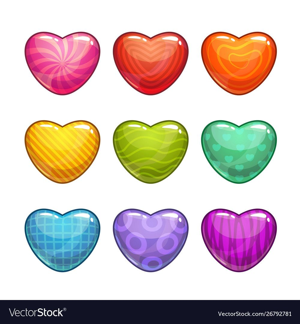 Cute Cartoon Colorful Glossy Heart Shaped Candies Isolated Vector Icons For Game Or Web Design Love Symbols Set Downlo In 2021 Cute Cartoon Vector Free Love Symbols