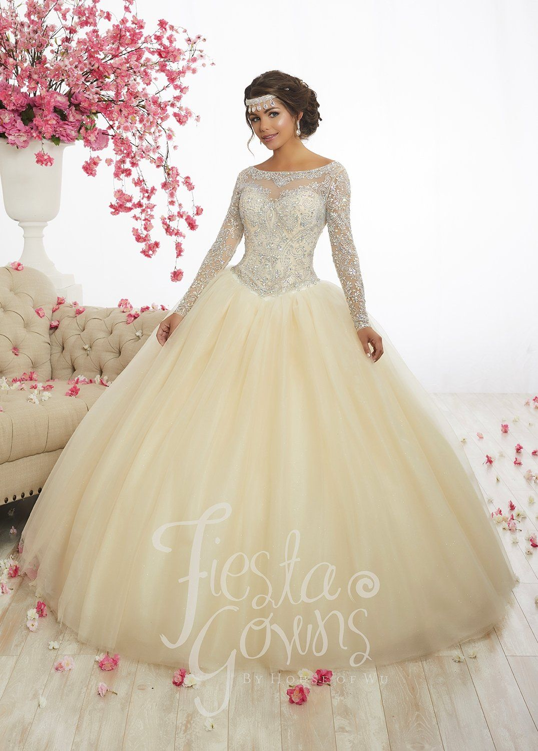 c8a73a43115 Beaded Long-Sleeve Quinceanera Dress by Fiesta Gowns 56347 in 2019 ...