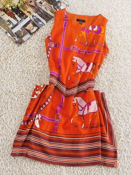 Horse Print Silk Dress