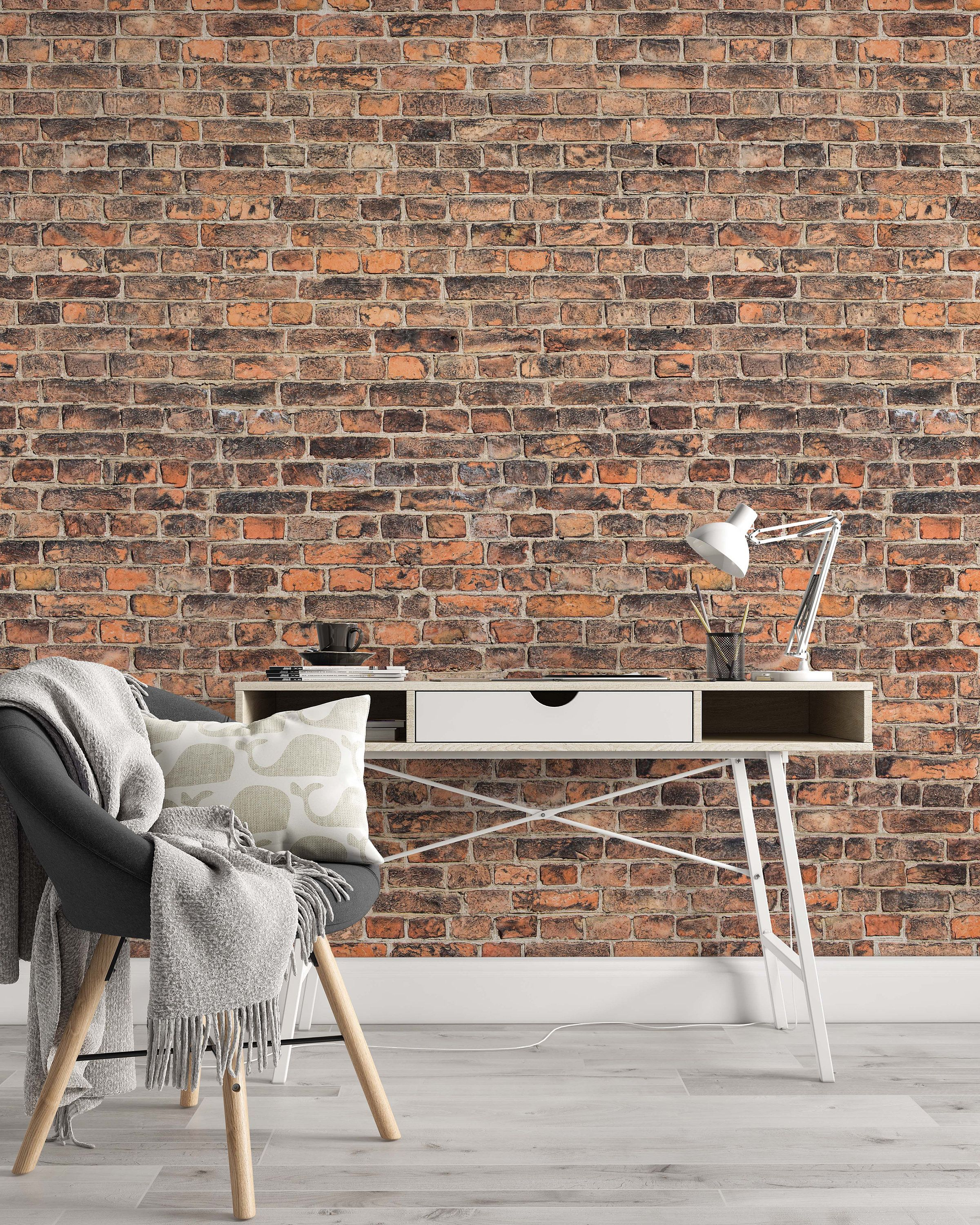 Create An Elegant Statement With A White Brick Wall Design Ideas Brick Wallpaper Living Room Wallpaper Design For Bedroom Home