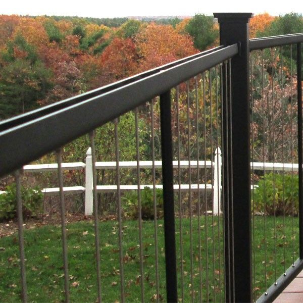 Vertical Cable Stair Railing Panels By Fortress Black Sand