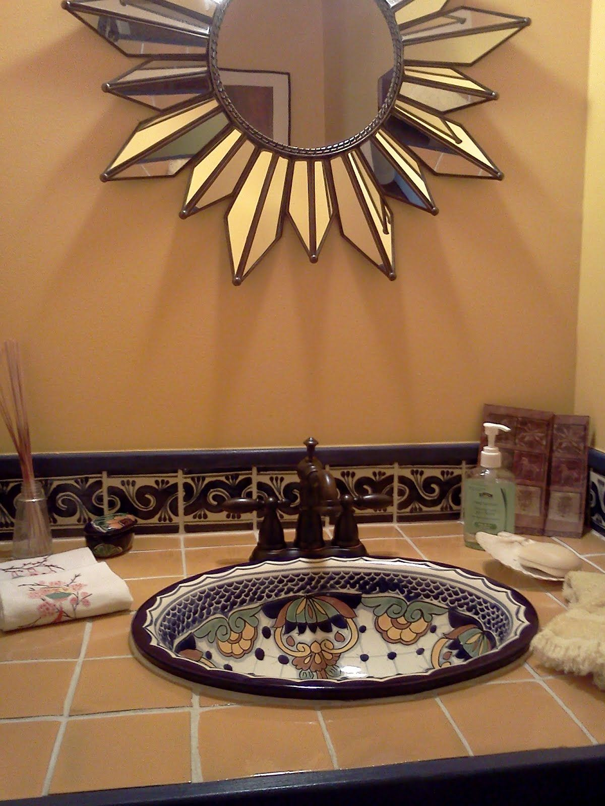 Bathroom sink and tile in talavera ba os pinterest for Banos rusticos mexicanos
