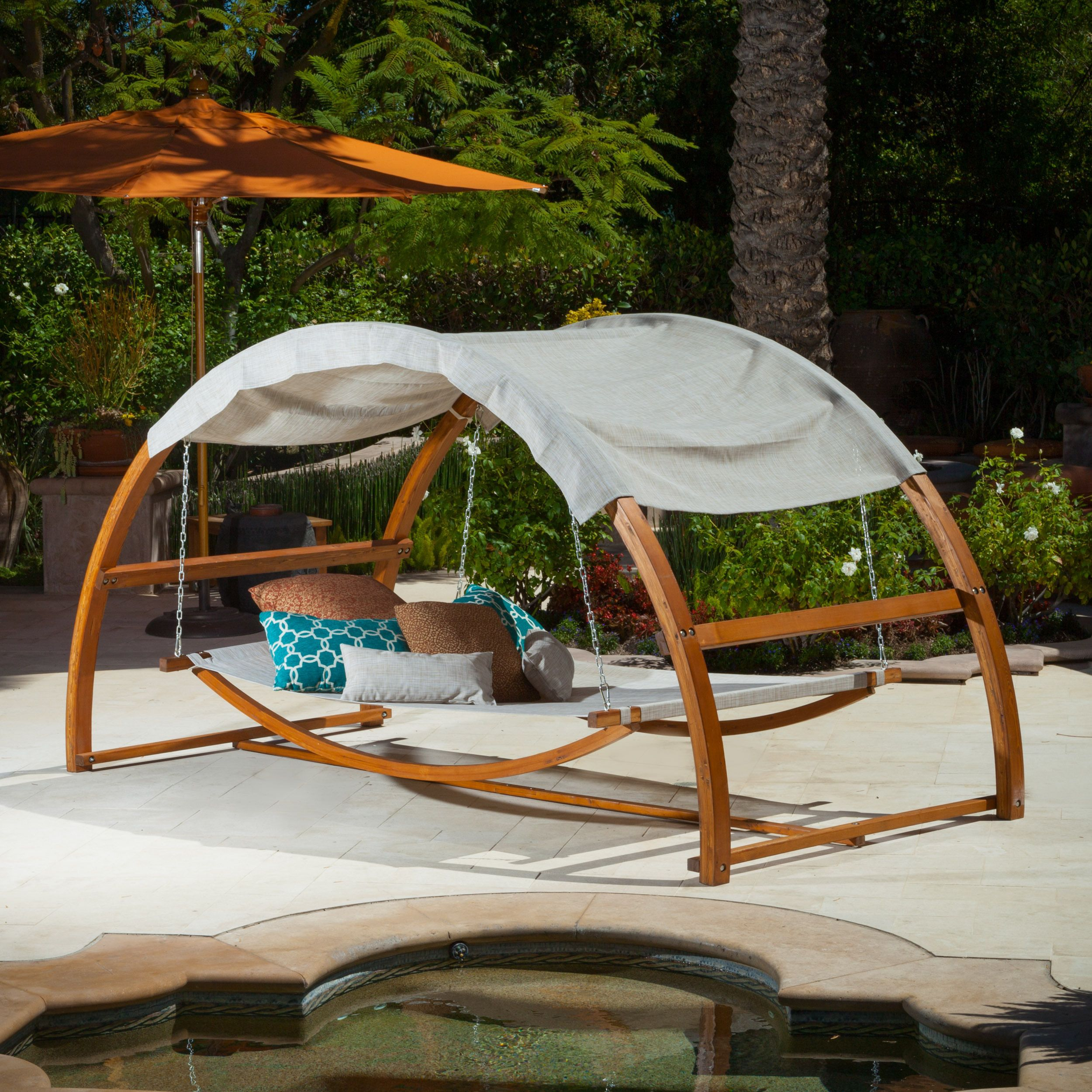 The tonga hanging swing bed with canopy is a perfect for Diy patio bed