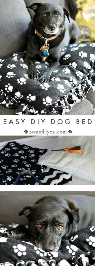Easy DIY Dog Bed - Fleece Blanket Dog Pillow - AD