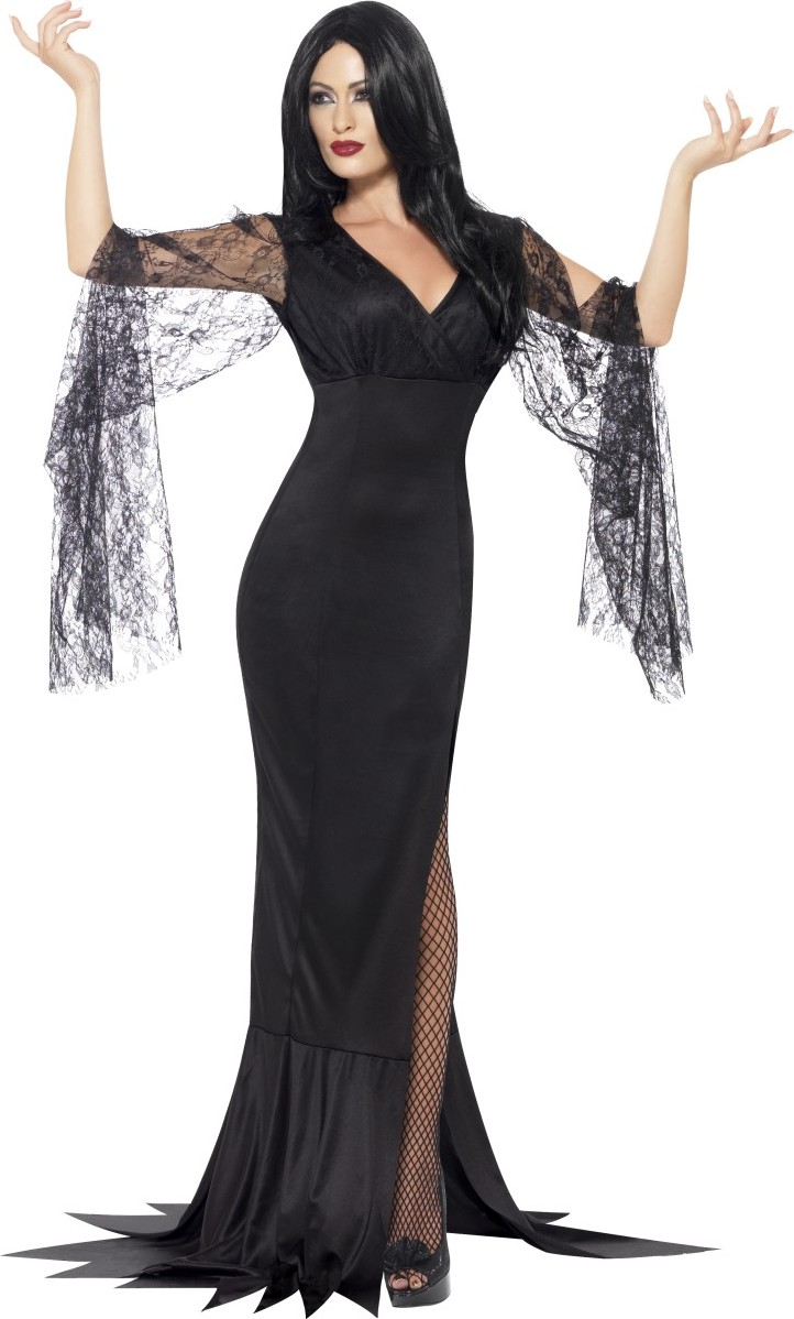 Femme Halloween Sorcière Cosplay Enchanteresse Costume Robe sans manches Outfit Hai12