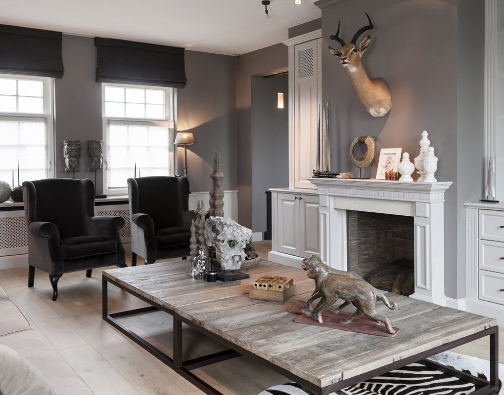 Attractive Grey And Black Sitting Room With Natural Accents