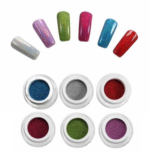 6 Colors Holographic Nail Art Laser Powder DIY Set Glitter Holo ...