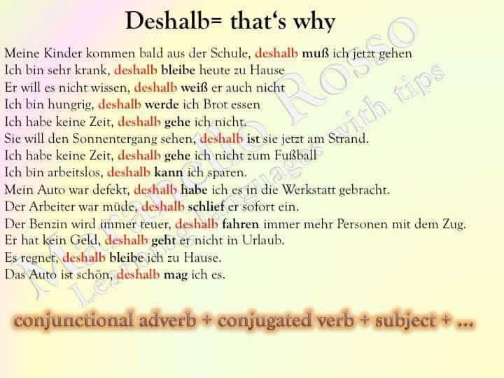 Englisch Deshalb