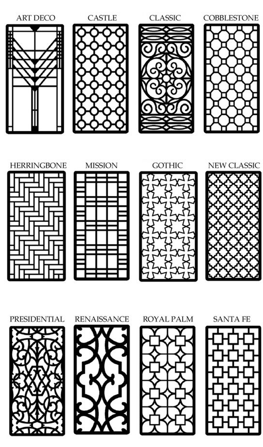 Window grilles a style something like presidential might for Design patterns of doors