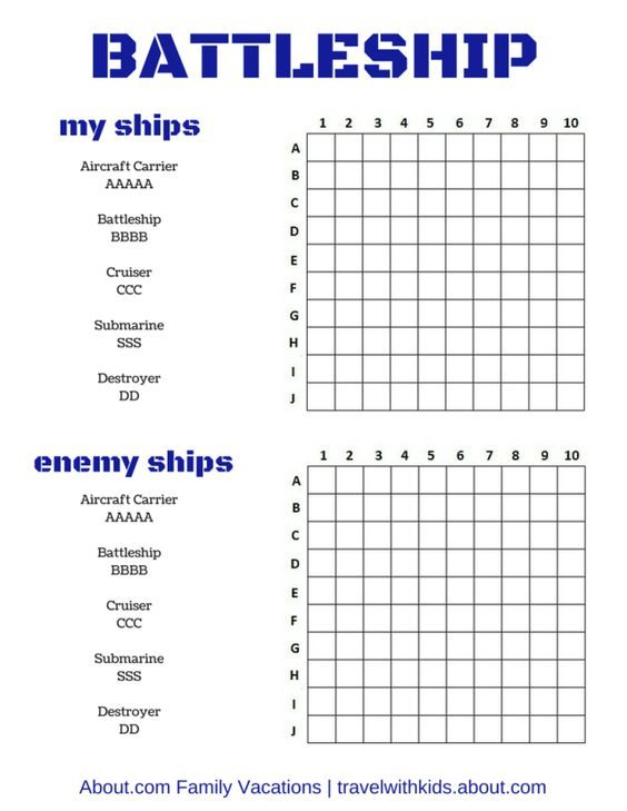 Free Printable Travel Games For Kids  Play Car Games Battleship