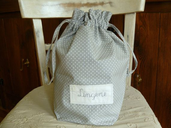 Lingerie travel bag Lingerie bag clothes bag gray dots by AniaSews