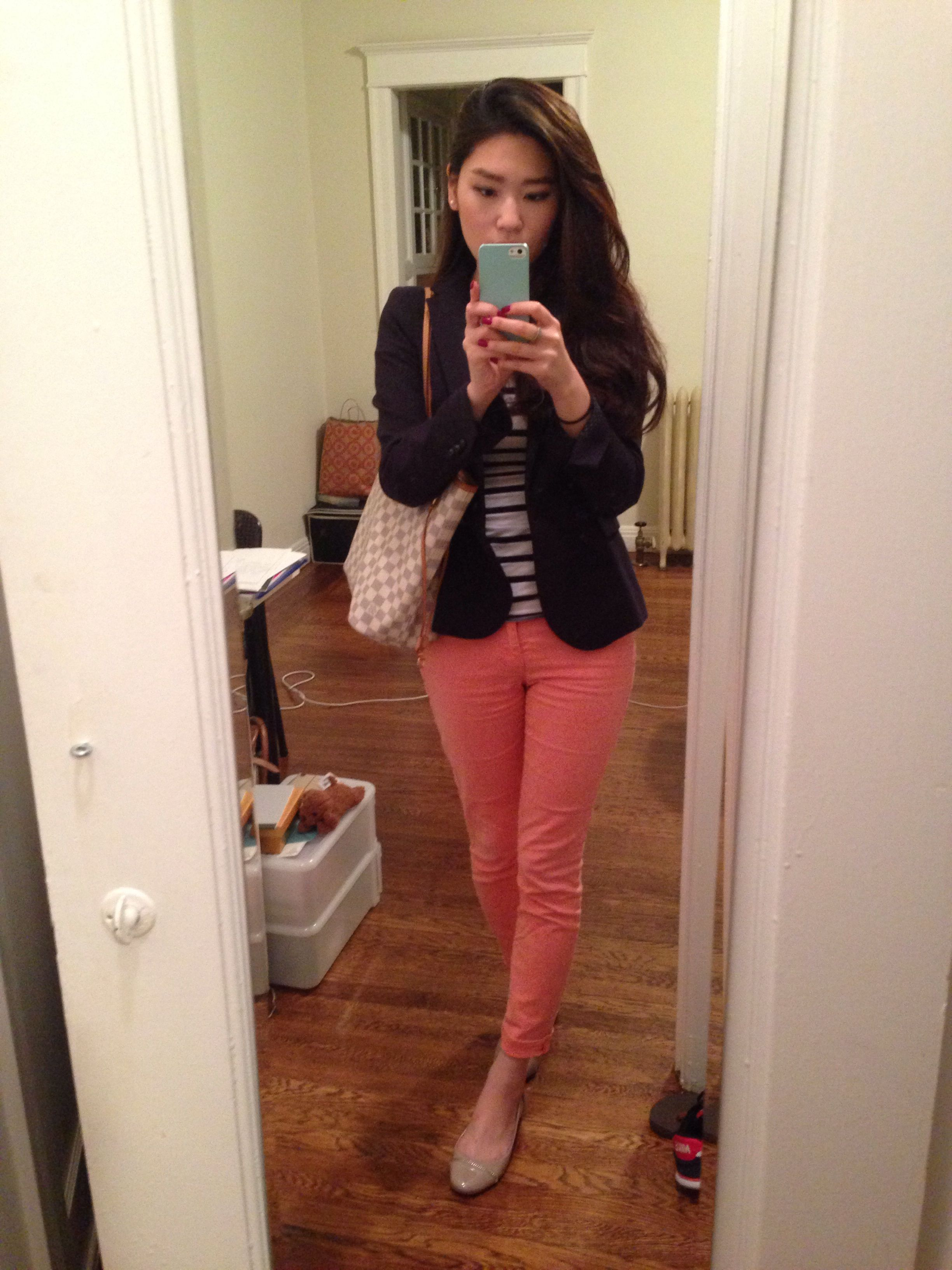 Navy blue Blazer,   Neon Jeans  with flat shoes  Classy and cute ! ; )