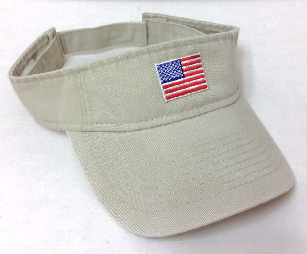 e334ed776e5 New AMERICAN FLAG SUN VISOR Simple Khaki Golf Beach Hat Cap Men Women Team  USA  Unbranded  Visor