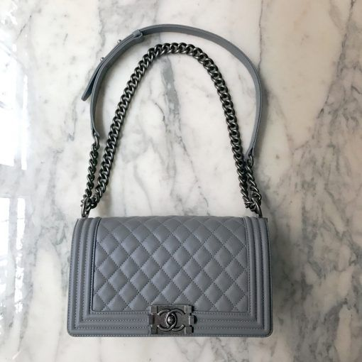 61c0ce8edbf2 17C Authentic CHANEL BOY BAG GREY Quilted Leather Silver Chain – Jill's  Fashion Base