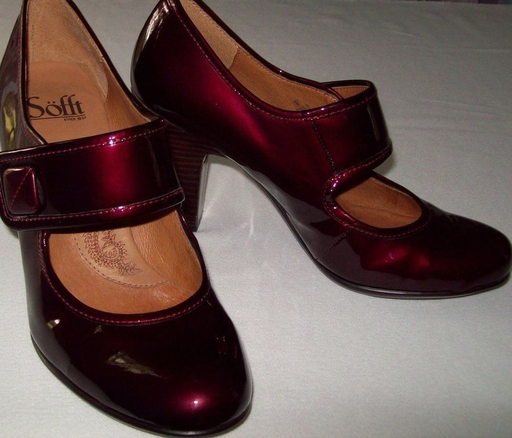 7c122f63cf9 Sofft Burgundy Patent Leather Mary Jane Pumps Shoes Womens Size 8 M ...
