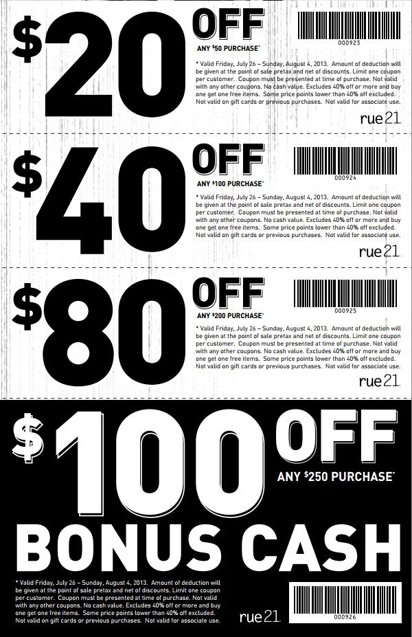 photo regarding Rue 21 Printable Coupon called rue21: $20-$100 off Printable Coupon Math- Trouble Fixing