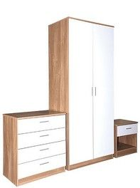 Ottawa White High Gloss And Oak 3 Piece Bedroom Set in 2019 ...