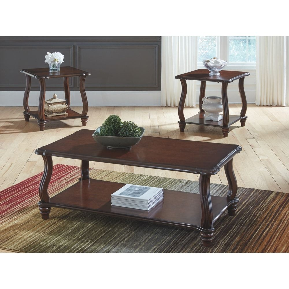 Carshaw Dark Brown Coffee Table And Two End Tables Set Of 3 Signature Design By Ashley In 2020 3 Piece Coffee Table Set End Table Sets Table