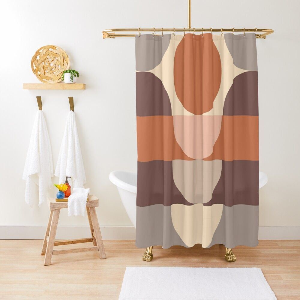 Abstract Geometric 4 Terracotta Desert Pattern Shower Curtain