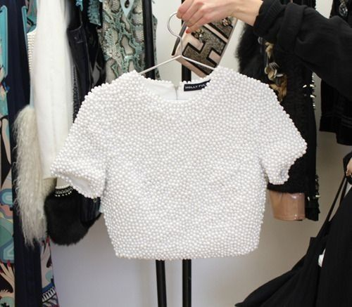 Image Result For Holly Fulton White Beaded Crop Top Fashion Tops Clothes