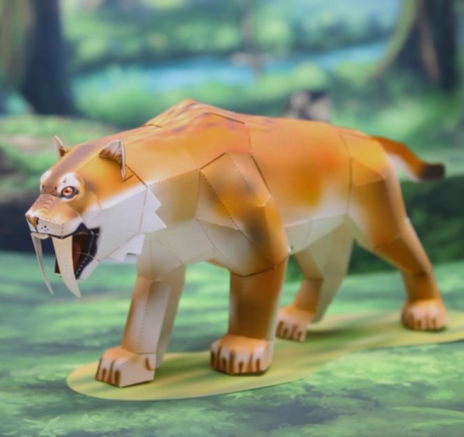 PAPERMAU: Prehistoric Animals - Smilodon Paper Model - by Katsuyuki Shiga #prehistoricanimals