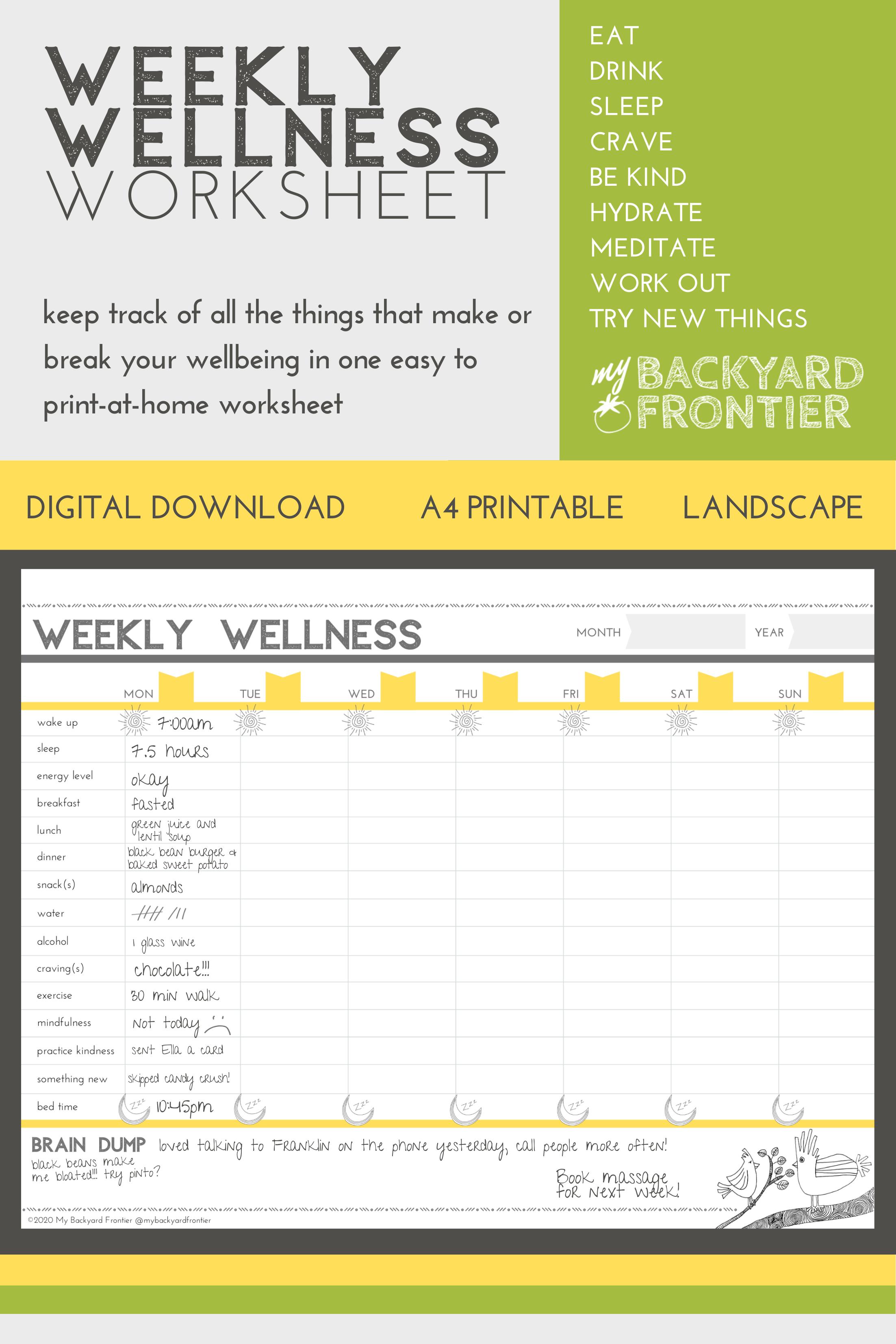 Printable Food Mood Fitness Mindfulness Journal