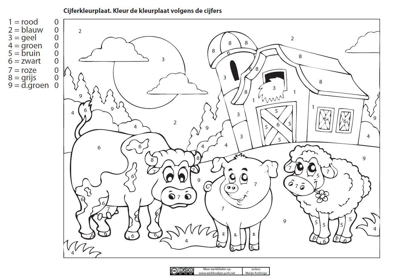 cijferkleurplaat de boerderij juf marije boerderij thema