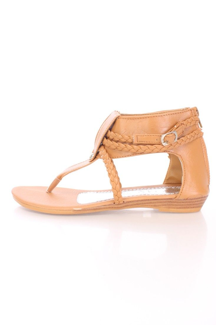 Tan Braided Strappy Thong Sandals Faux Leather