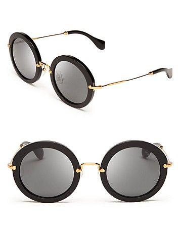 Miu Miu Noir Round Sunglasses - All Sunglasses - Sunglasses - Jewelry & Accessories - Bloomingdale's