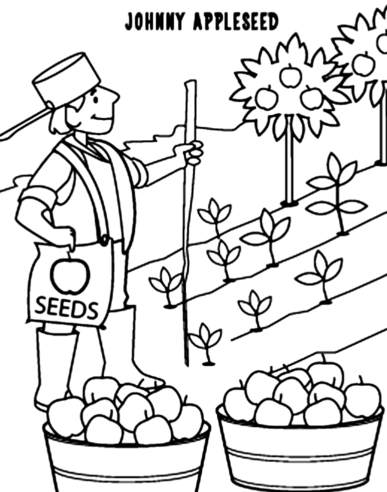 johnny appleseed coloring pages  johnny appleseed apple