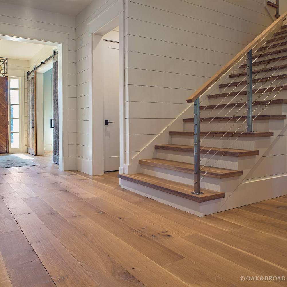 White Oak Flooring And Stair Treads Stairs In 2019 Hardwood   French Oak Stair Treads   White Oak Flooring   Ponte Vedra   Railway Sleepers   Stair Nose   Wide Plank Flooring