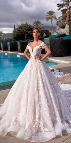 Gorgeous Sweetheart Wedding Dresses For Brides ★ sweetheart wedding dresses ball gown blush lace off the shoulder noranaviano