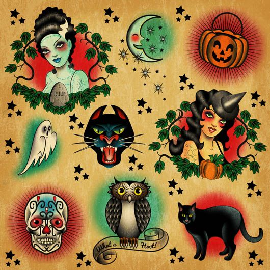 Tattoo halloween flash | Halloween! | Pinterest | Tattoo ...