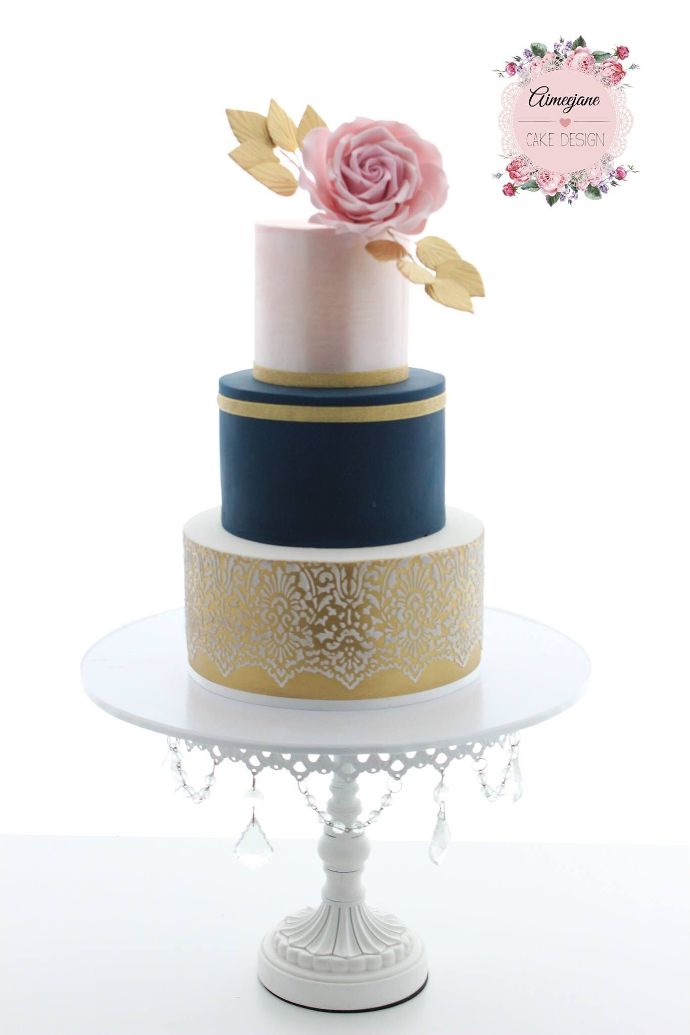 blue pink and gold wedding cake aimeejane cake design wedding cake gold navy and blush 11999
