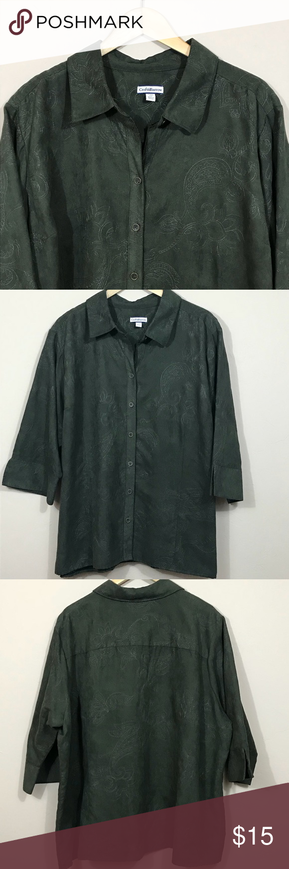 Croft u Barrow army green embossed faux suede top  My Posh Closet