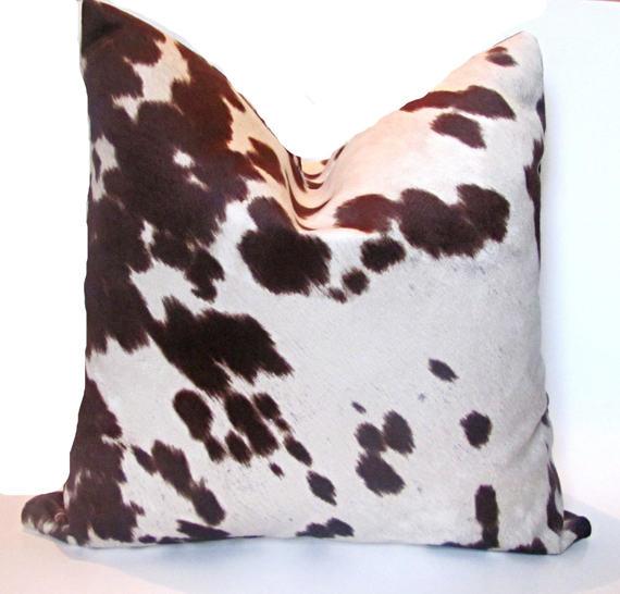 Cow Hide Pillow Cover Faux Cow Hide Pillow Brown Etsy Faux Cowhide Cowhide Pillows Hide Pillows