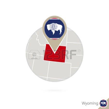 Mapa de Wyoming Estado de Estados Unidos y la bandera en círculo. Mapa de Wyoming, Wyoming pin de la bandera. Mapa de Wyoming en el estilo del globo. Ilustración del vector.
