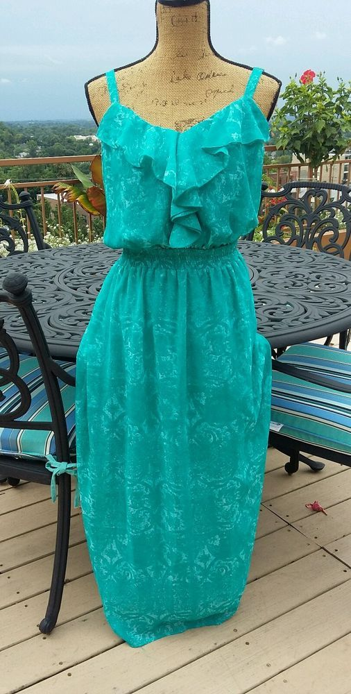 Faded Glory Teal Green Fl Maxi Dress Ruched Empire Waist Plus Size 20 2x