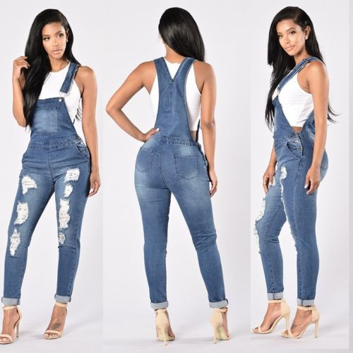 c03b587f9317 Fashion Women Straps Jumpsuit Denim Jeans Bib Pants Overalls Rompers Trousers  in Clothing