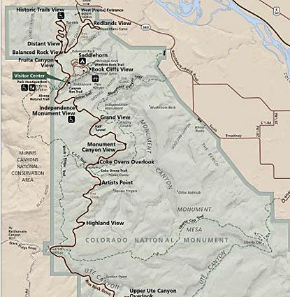 Colorado National Monument Map | park city roadtrip | Pinterest