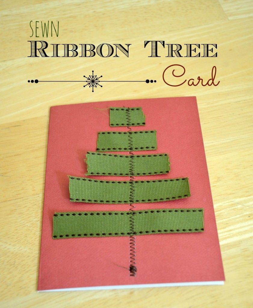 Sewn Ribbon Tree Cards - Eclectic Momsense