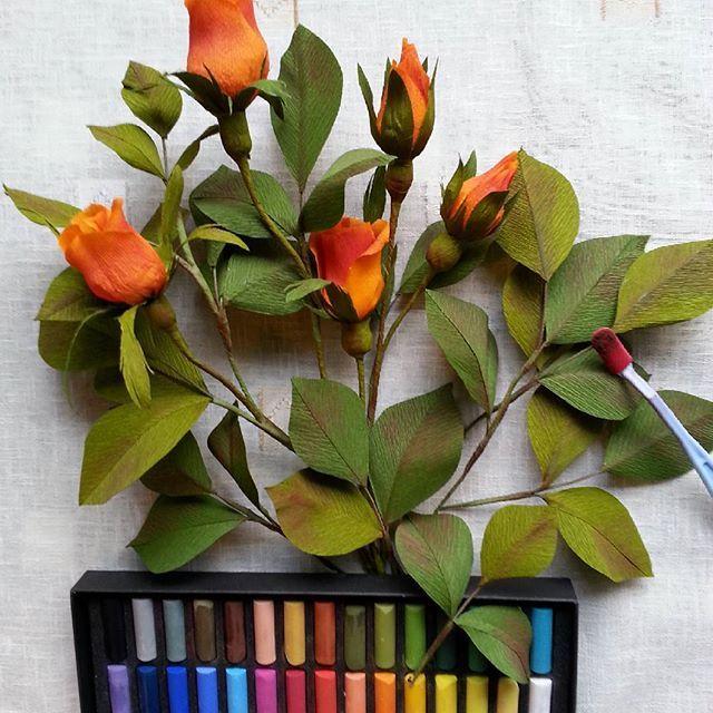 #Handmade #paper #flowers #crepepaperflowers #decoration #roses #branch #softpastel