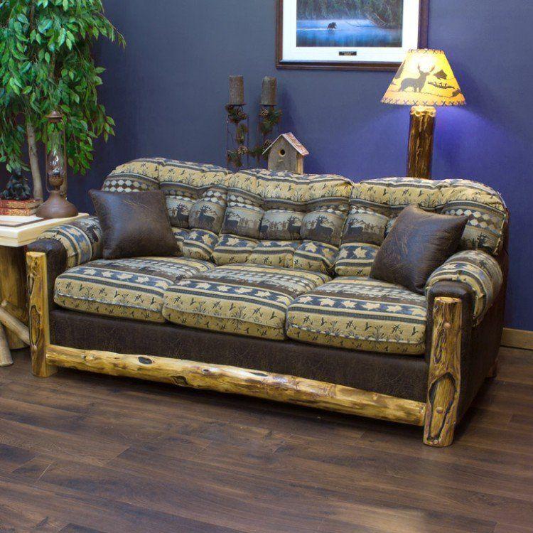 Beartooth aspen upholstered log sleeper sofa cabin