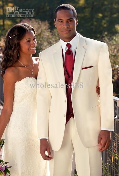 High Quality Ivory Mens Suits Groom Tuxedos Groomsmen Wedding Party Dinner Best Man Suits W:10 jacket+pants+bow Tie